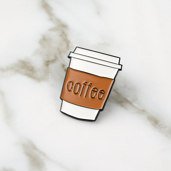 Coffe cup Enamel Pin Carry Cup Brooches Metal Brooch Fashion Life Coffee Mug Pins Badge Gift for Women Men Coffee lovers