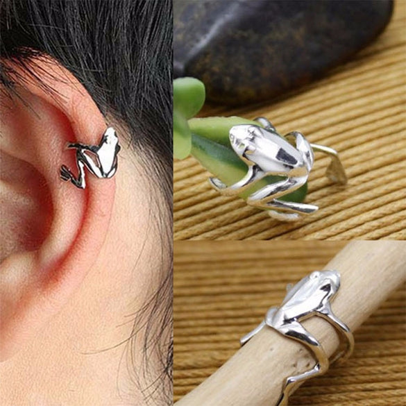 Punk Stylish Gold Silver Plated Alloy Frog Cuff Ear Clip Wrap Earring Women Men Earrings Jewelry #269445