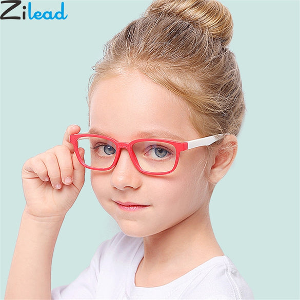 Zilead New Baby Anti-blue Light Silicone Glasses Brand Children Soft Frame Goggle Plain Glasses Kids Eye Fame Eywear Fashion