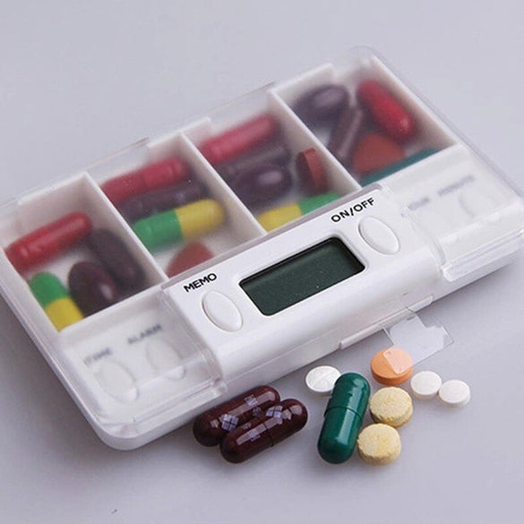 4 Grid pill box medicine Storage Box Electronic Timing Reminder Medicine Boxes Alarm Timer Pills Organizer Pill Drug Container