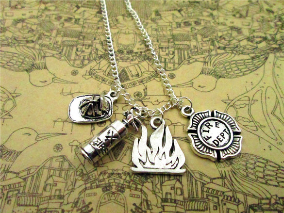 Fire Department necklace Firefighter Charm pendant Firefighter , Antique silver  FIRE DEPT.,fire,firefighter hat necklace