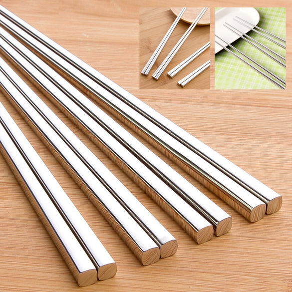 vanzlife food grade top 304 stainless steel chinese chopsticks for sushi household children's Chopsticks holder Kitchen one pair