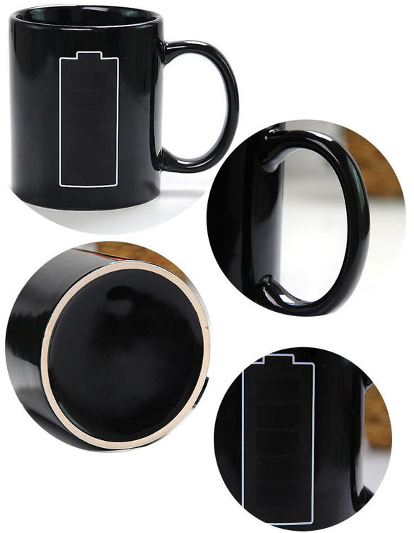 New Magic Color Changing Cup Heat Sensitive Mug Battery Handgrip Ceramic Magical Temperature Changing Coffee Mug Gifts