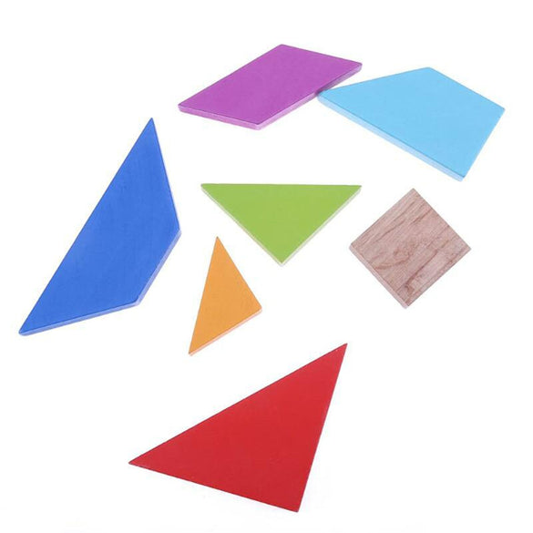 Wooden Tangram 7 Piece Jigsaw Puzzle Colorful Square Game Brain Teaser Intelligent Educational Toys For Kids