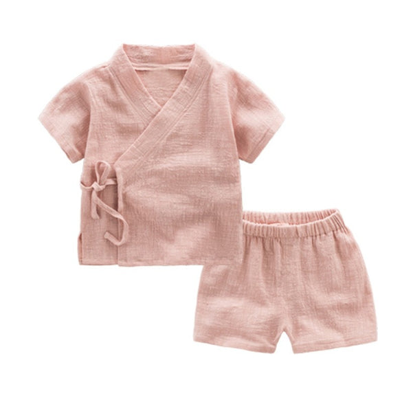 CROAL CHERIE 2pcs Kids Boy T Shirt + Shorts Clothing Sets Summer Breathable Linen Girls Tops Children's Sets Solid Casual Tee