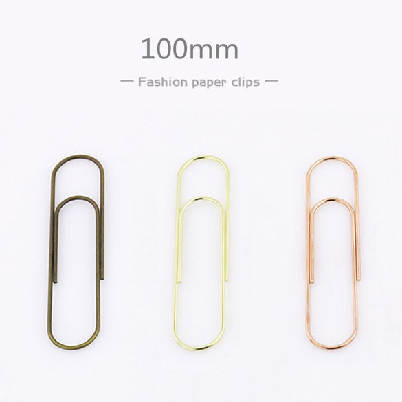 TUTU 10pcs/lot Effective Office Supplies Large rose gold Clip Bookmark Metal Office Accessories paper Clips Patchwork Clip W0006