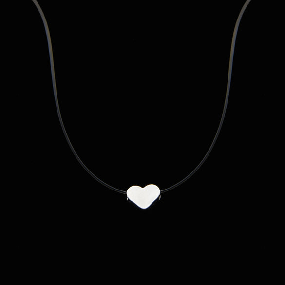 Poputton Female Transparent Fishing Line Necklace Silver Color Invisible Chain Women Rhinestone Choker Necklace Collier Femme