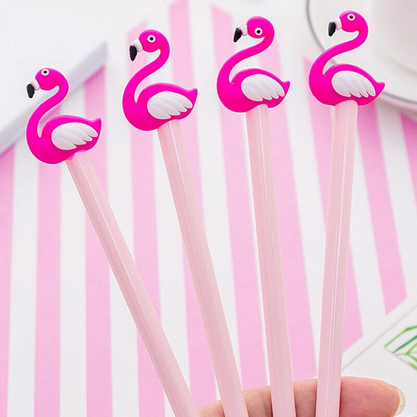 1 PCS Kawaii Cartoon 0.38mm Writing Pen Lucky Pink Flamingo Gel Pen Signature Pen Escolar Papelaria  School Office Supply