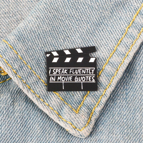 Film Clapper Enamel Pins Brooch Action Directors Cut Pins Badges Movie TV Handhelds Props Brooches Gift For Women Men Director