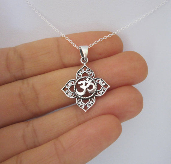1Pcs Filigree OHM OM AUM Buddha Lotus silver pendant necklace, Buddhist, yoga necklace