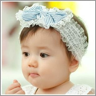Hot child stripe bow lace Headwear Kids pictures princess tiara hair accessories wholesale A157 (Blue)