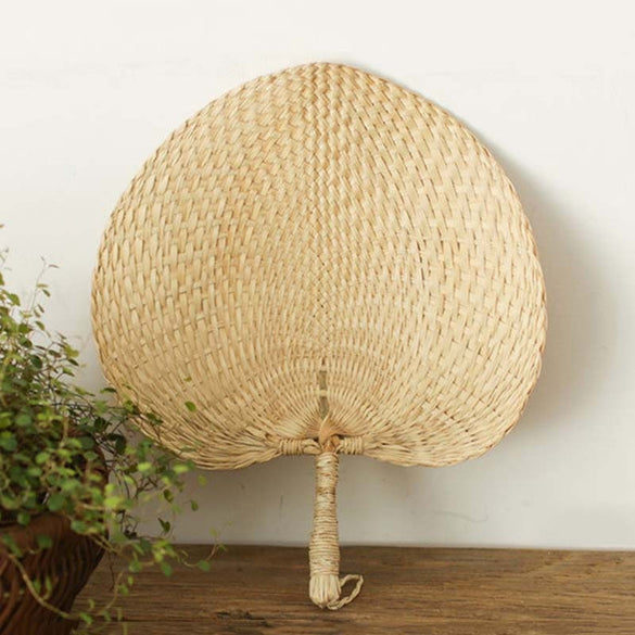 HOT SALE Cool Baby Mosquito Repellent Fan Summer Manual Straw Hand Fans Palm Leaf (photo color)