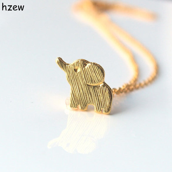 hzew Min 1pc Gold and silver color lucky elephant necklace