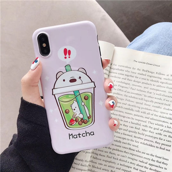 Cute milk tea bear phone case for iphone 11 11Pro XS MAX SE 2020 XR X 7 8 Plus case Cartoon glossy IMD soft back cover case capa