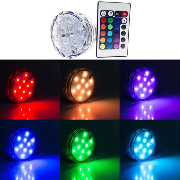 10 Led Remote Controlled RGB Submersible Light Battery Operated Underwater Night Lamp Vase Bowl Outdoor Garden Party Decoration (changeable)