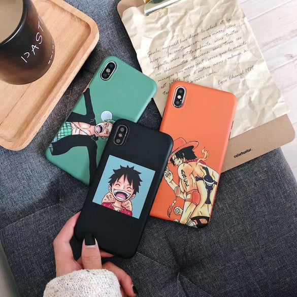 ONE PIECE Phone Case Japan Anime Cartoon Luffy Zoro Coque For iphone Xs MAX XR X 6 6s 7 8 plus Funny smile couple Silicone Capa