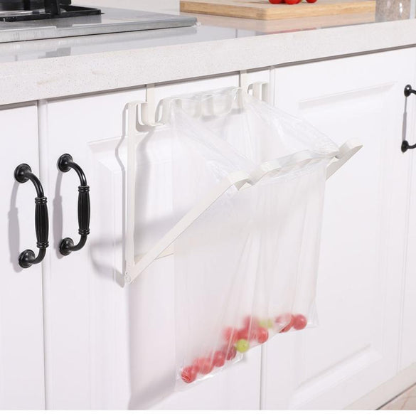 Hanging Kitchen Cabinet Door Trash Rack Towel Storage Garbage Rag Bags Holder (White)