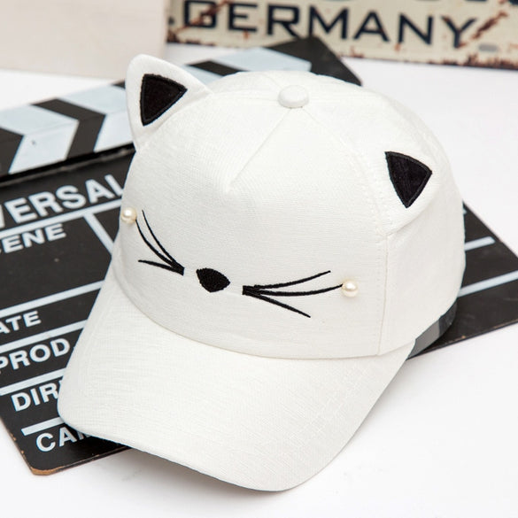 Seioum Spring Fashion Brand Street Adjustable Lovely Embroidery Hat Cat Ears Snapback Cap Boy Girl Pearl Baseball Cap