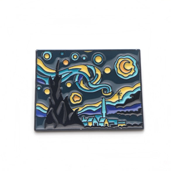 P3388 Dongmanli Van Gogh Art The Starry Night Enamel Pins and Brooches for Women Men Lapel Pin backpack bags Hat badge Gifts
