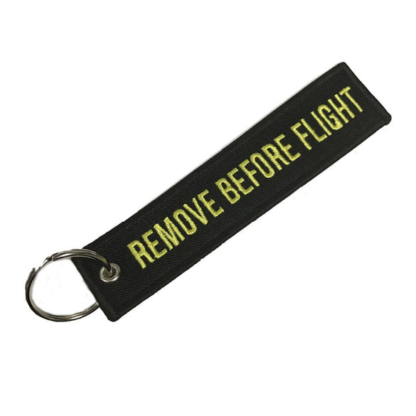 "Doreen Box Hot Tags Keychain Keyring Rectangle Polyester Embroidery Message "" Remove Before Flight "" Multicolor Key Chains, 1 PC"