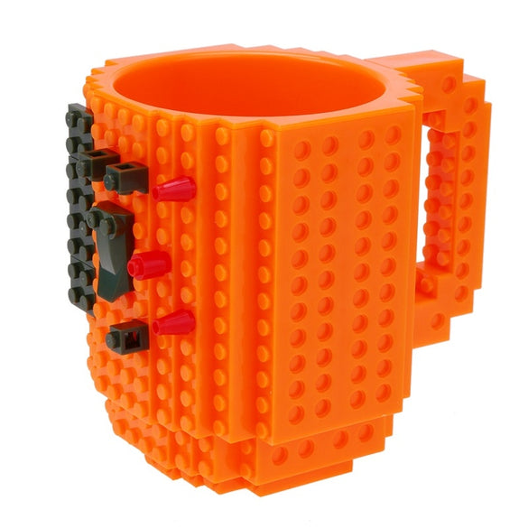 1Pc 12oz Coffee Mug Build-On Brick Mug Type Building Blocks Cup DIY Block Puzzle Mug Drinkware Drinking Mug 11 Colors