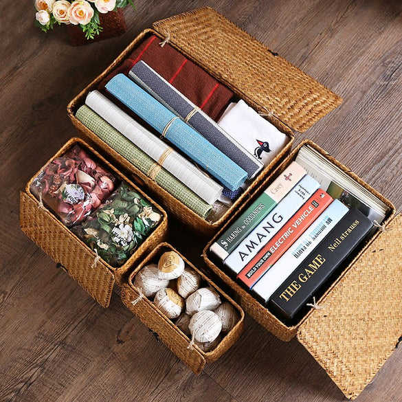 Manual Woven Storage Basket Lid Debris Consolidation Storage Box Storage Basket Sorting Box Jewelry Box H