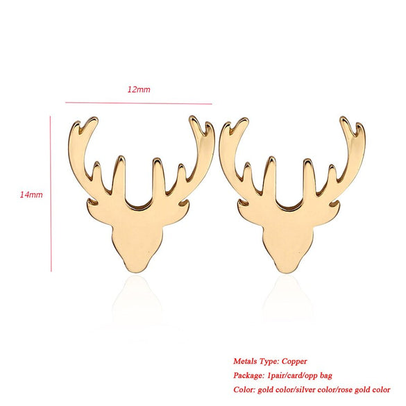 Jisensp Fashion Deer Stud Earrings for Women Cute Elk Animal Earrings Pendientes Ear Jewelry Christmas Accessories Gifts Bijoux
