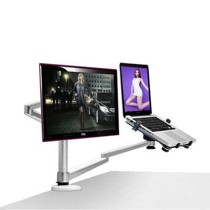 OA-7X Multimedia Desktop Dual Arm 27 inch LCD Monior Holder+ Laptop Holder Stand Table Full Motion Dual Monitor Mount Arm Stand