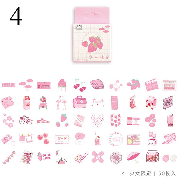 50Pcs Cute Plant Stationery Stickers Kawaii Drink Stickers Paper Adhesive Stickers For Kids DIY Scrapbooking Diary Photos Albums