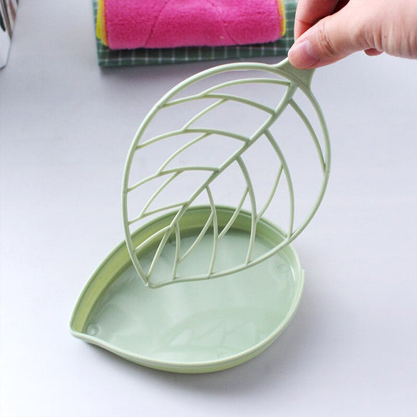 Double Layer Leaf Shape Drain Soap Box Soap Storage Box Bin Container Portable Leaf Modeling Soap Dishes Holder Bathroom Supply