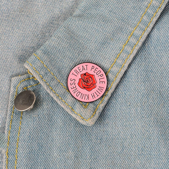 Harry Styles ! Cute Pink Rose Treat People With Kindness Tender Round Enamel Badge Lapel Brooch Pin