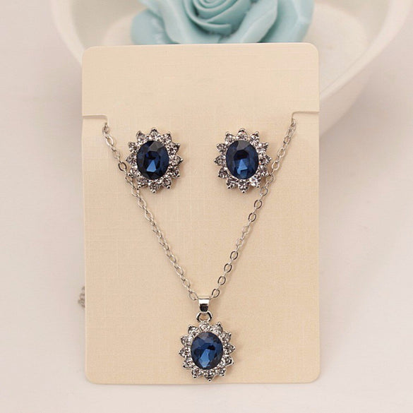 VKME 2020 New Fashion Blue Crystal Jewelry Sets Luxury Vintage Party Water Drop CZ Necklace&Earrings Fine Jewelry