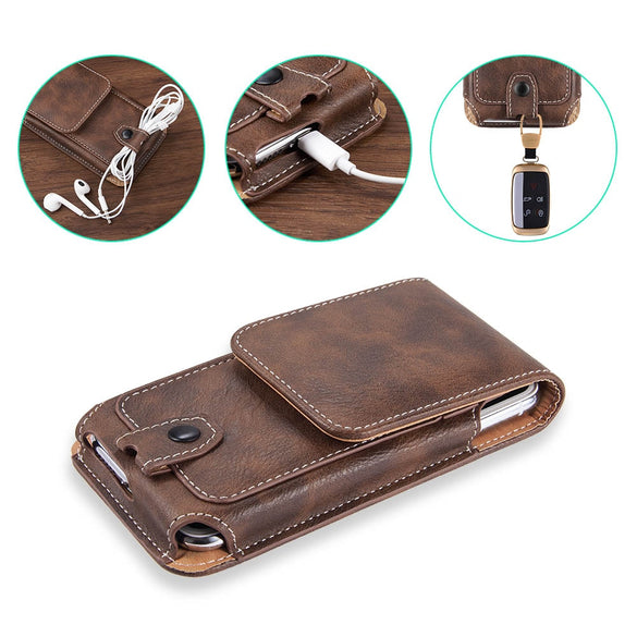 Universal Pouch Leather phone Case For iphone6 XS X 7 8plus Waist Bag Magnetic holster Belt Clip phone cover for redmi note 8pro