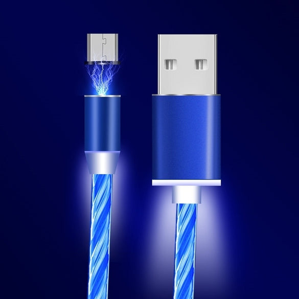 Micro USB Magnetic Flowing Light LED Cable For Samsung Type-c Charging Charge for iphone 1M Magnet Charger USB C Cables