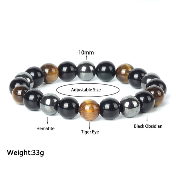 TopGoods Natural Hematite Tiger Eye Black Obsidian Stone Bracelet for Women 10mm Beaded Men Magnetic Health Protection Bracelets