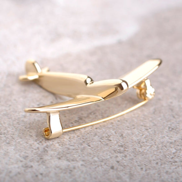Blucome Simple Airplane Model Brooches For Women Men Metal Wild Brooch Fighter Aircraft Hijab Pin Jewelry Kids Boys Gift Bijoux