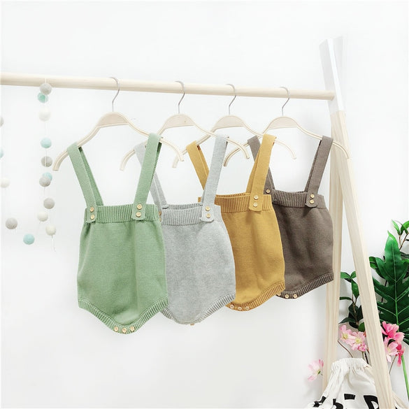 2018 High Quality Baby Boy Knit Romper Girls Cute Crochet Rompers Toddler Brand Spring Suspender Infant Lovely Knitting Romper