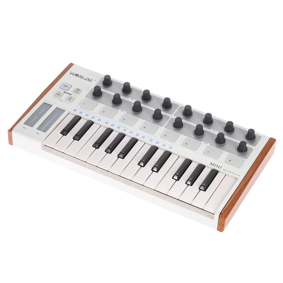 High Quality Worlde Ultra-Portable Mini 25-Key MIDI Keyboard Controller and USB MIDI Drum Pad Professional