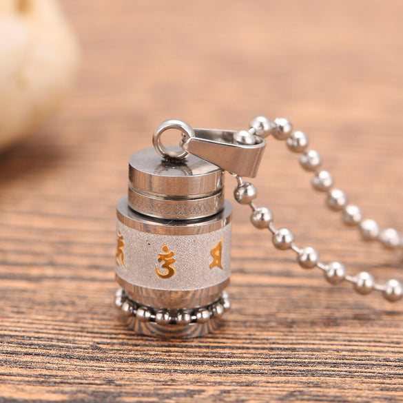 Stainless Steel Buddhism Six Words Rotatable Necklace women Om Mani Padme Hum Prayer Wheel Mantra Bottle Urn men Necklace