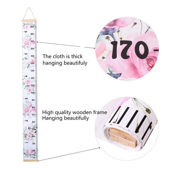 Cartoon Baby Kids Growth Chart Record Wood Frame Fabric Height Measurement Ruler for Boys & Girls Child's Room Wall Decoration
