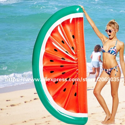 180*90cm Inflatable Half Watermelon Pool Float Lie-on Swimming Ring Beach Water Fun Toy Blowup Fruit Floats Air Mattress Lounger