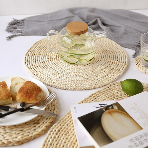 Corn fur woven Dining Placemat Heat Insulation Pot Holder Round Placemats Coffee Drink Tea Cup Table Mug Coaster