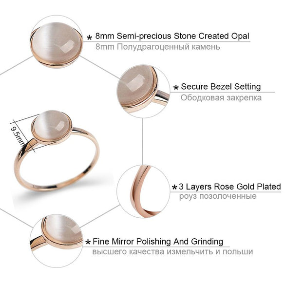 USTAR White stone Wedding Rings for women Jewelry Rose Gold color engagement Rings female Anel bijoux party gift top quality
