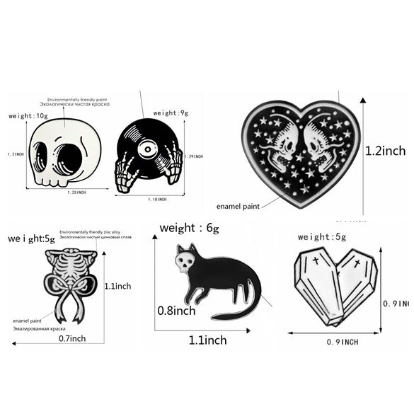 QIHE JEWELRY Skeleton pin Skull pin Vampire brooches Badges Halloween jewelry Goth Punk Dark Black Pins collection