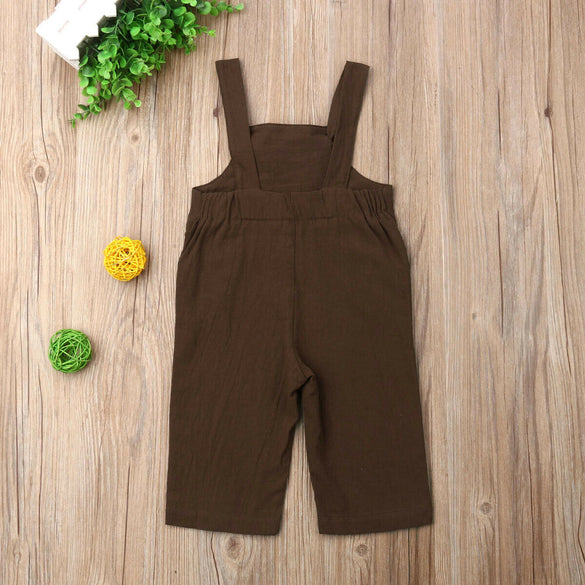 Toddler Sweet Kids Boys Girls Clothes Linen Solid Causal Sleeveless Dungaree Jumpsuit Playsuit Overalls Outfits Newest Fashion