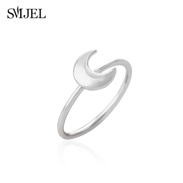 SMJEL Hot Tiny Cute lovely Half Moon Rings for Women Simple Flat Crescent Moon Knuckle Ring Female Jewelry Birthday Gifts  R133