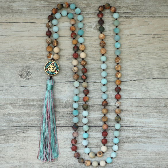 Beautiful Natural Stone Mala Necklace