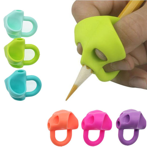 3pc Magic Grip Pencil Help Beginner Writing Silicone Toys Baby Double Thumb Posture Correction Pen Tool Student Education