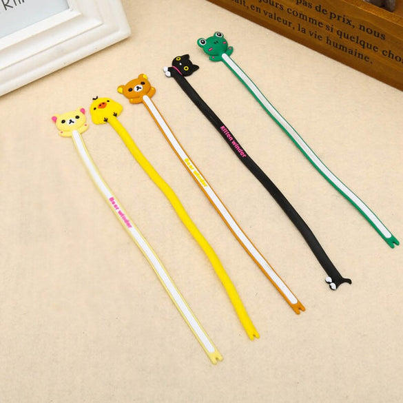 6Pcs Cartoon Cord Winder Reversal Korea fashion creative Lovely Classic adorable long strip winding thread tool device silicone