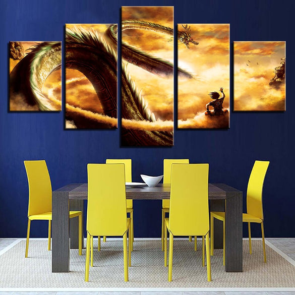 HD Prints Canvas Pictures Modern Wall Art 5 Pieces Cartoon Dragon Ball Z Paintings Goku Ride Shenron Poster Home Decor Framework